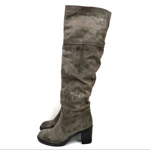 Aldo | Distressed Taupe Over the Knee OTK Boots